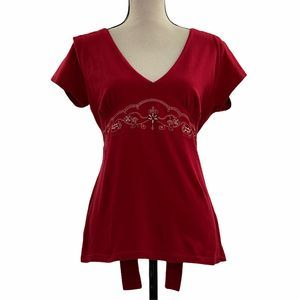 Fashion Bug Red Embroider V-Neck Babydoll Blouse M